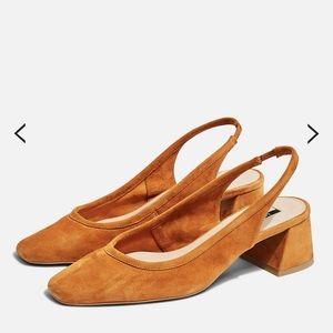NWOT-TOPSHOP Jelly Leather Tan Sling Back Heel 37